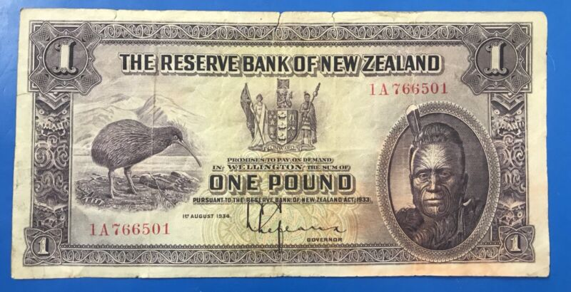 New Zealand 1934 One Pound Note. 1 Pound Banknote.