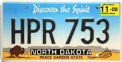 North Dakota  License Plate, Original Nummernschild  USA  HPR 753  ORIGINALBILD