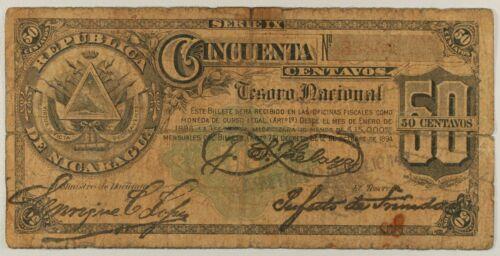 NICARAGUA 50 CENTAVOS... 1896... P-19c...VG