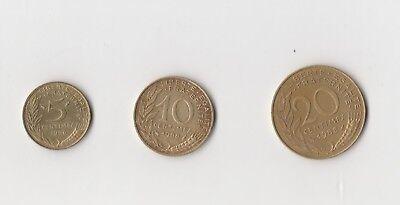 5 ,10 und 20 Centimes Frankreich  1988    (1893)   andere Jahrgänge auf Anfrage