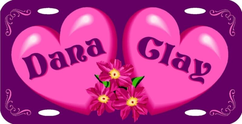 Personalized Custom Pink Hearts & Flowers Purple Background Love License Plate