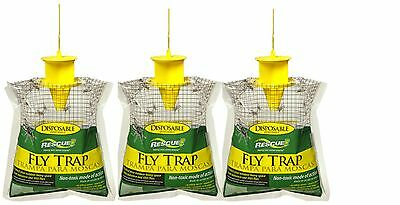 - 3-Lot Rescue Disposable Fly Trap Catches Up To 20000 Flies Just Add Water & Hang