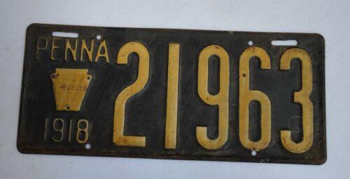 Antique Vintage 1918 Pennsylvania Penna 5 Digit Plate 21963