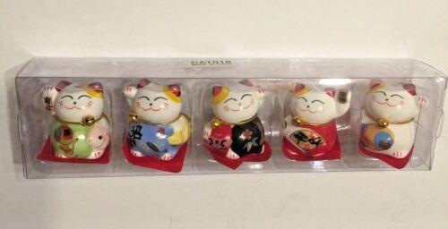 Set of 5 Maneki Neko Lucky Cats Ceramic Japanese Style Brings Fortune Prosperity