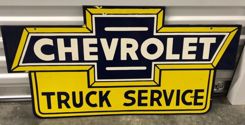 """GIANT 36"""" CHEVROLET TRUCK SERVICE DOUBLE SIDED PORCELAIN METAL GAS OIL SIGN!"""
