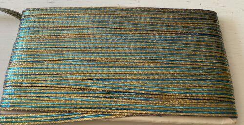 10 yds Vintage French Green and Gold Metallic Ribbon Trim NWOT  VV934
