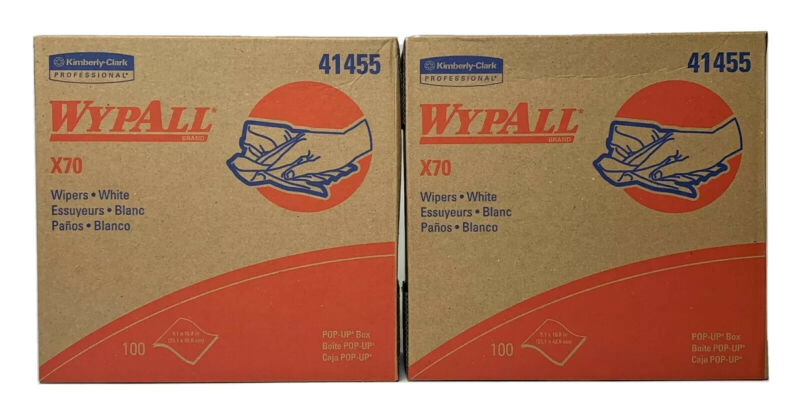 2 Boxes Kimberly Clark Wypall X70 Wipers Pop-up Box, White, 100/Box, 41455