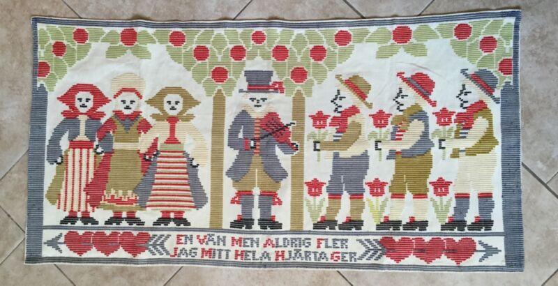 Antique Swedish Folk Art Dala Dalmalning Embroidered Tapestry, Wall Hanging