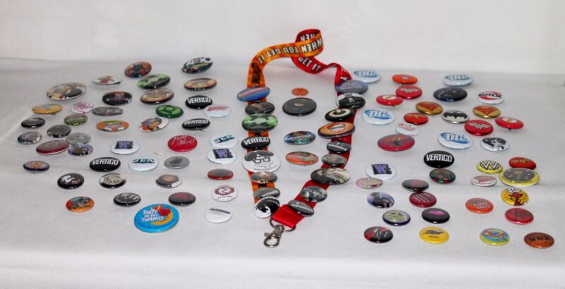 Exclusive Comic con 2005-2010 buttons and pins 100 +