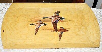 "Vintage 11"" X 18"" Wooden Serving Tray With Mallard Duck Designs By HASKO"