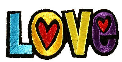 """""""Love"""" Text - Embroidered Yellow Heart - Iron on Applique Patch"""