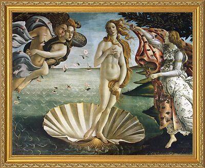 The Birth of Venus (Primavera) by Sandro Botticelli. Fine Art Poster, Gold Frame