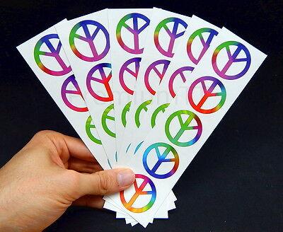 Rainbow Tattoos (Rainbow Peace Sign Symbol Tattoos, 60's Hippie Party)