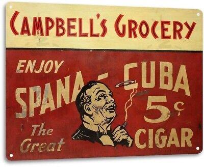 Spana Cuba Cigar Metal Sign Cigar Bar Smoke Shop Decor Sign - Cuba Sign
