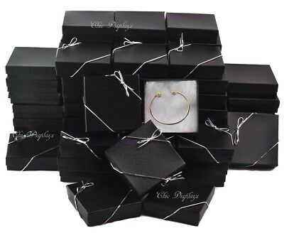 Lot Of 100 Black Cotton Filled Box Jewelry Gift Boxes Bracelet Box 3.5x3.5 Hot
