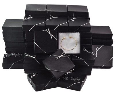 Lot Of 100 Black Cotton Filled Box Jewelry Gift Boxes Bracelet Box 3.5x3.5 Hot