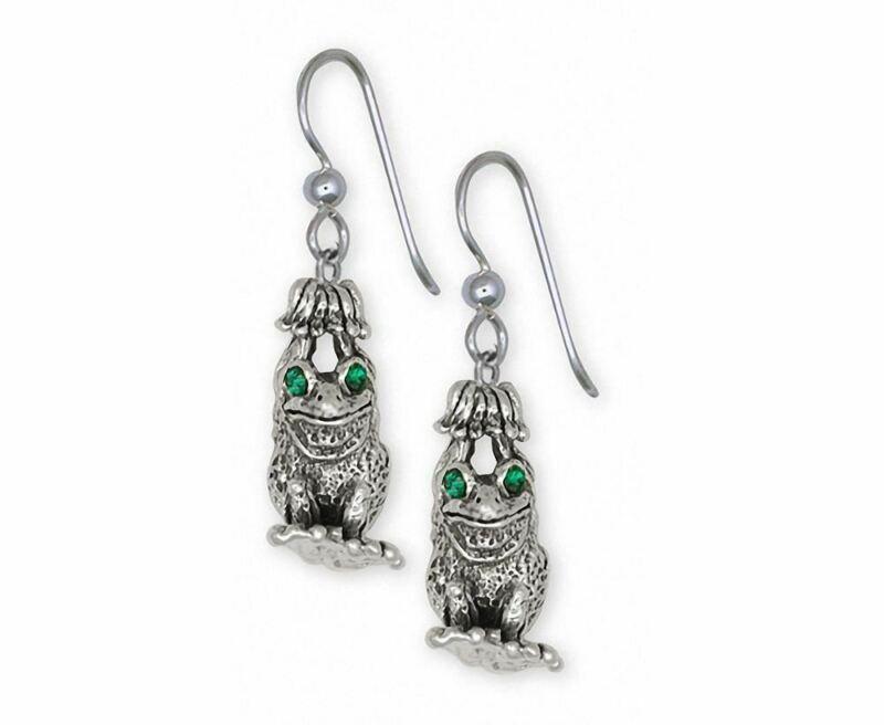 Frog Earrings Jewelry Sterling Silver Handmade Frog Earrings FG26-XE