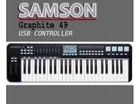 Samson Graphite 49 Key, Midi USB Controller Keyboard (like new condition)
