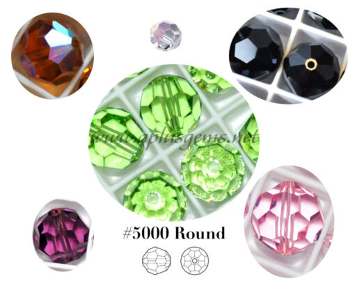 12Pcs SWAROVSKI Crystal Components  #5000 Faceted Round Beads 8mm in 40 Colors