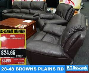 Noosa 3 Seat Lounge with Recline + 2 Recliners in Brown Leather Browns Plains Logan Area Preview