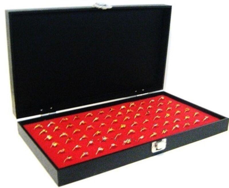Key Lock Locking Solid Top Lid 72 Ring Red Jewelry Display Box Storage Case
