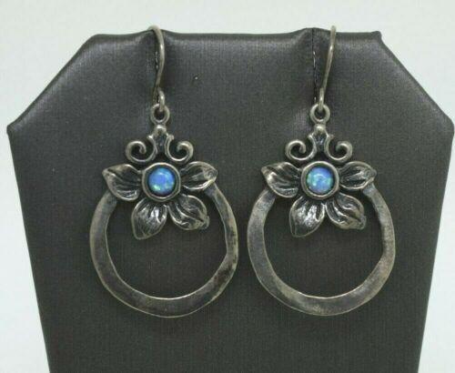 Israel Or Paz Sterling Silver Blue Opal Flower Dangle Earrings