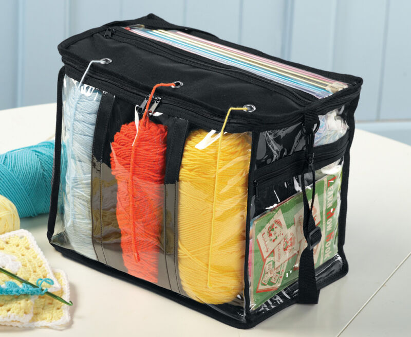 Yarn Storage Organizer No Tangle Portable Knitting Supplies Case Clear Tote