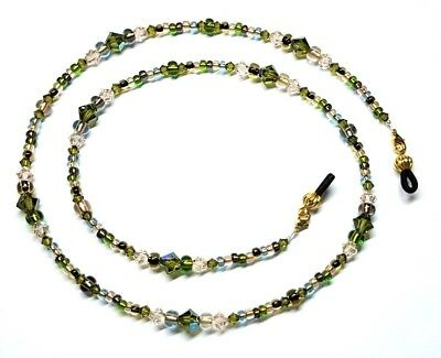Olivine Austrian Crystal - Earth Tones Olivine Austrian Crystal Copper Bead Mix Eyeglass Chain Holder