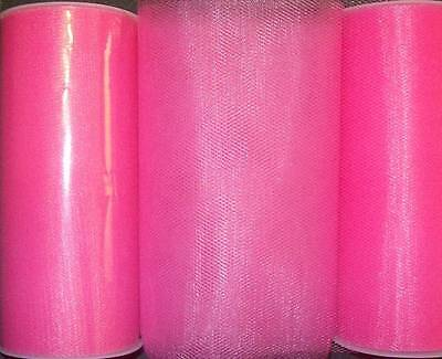 5 HOT PINK TULLE Fabric Spools Rolls Bulk Lot 6
