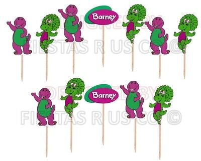 Barney Birthday Supplies (Barney Cupcake Toppers 12 or 24 pc. Birthday Party Supplies. Made from)