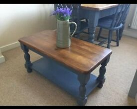 Beautiful painted and waxed farmhouse coffee table