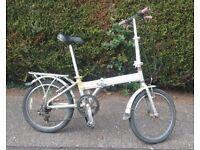 Lightweight (mag alloy) folding bike. 16 inch wheels.