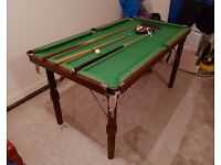 "6 foot slate bed pool table (6'3"" x 3'3""or 190cm x 100cm) with cues, pool balls and accessories"