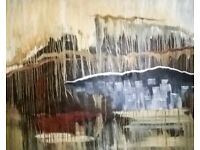 Large Abstract Oil Painting on 56 x 44 inch stretchered canvas