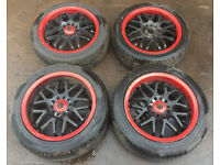 """RARE JDM RACING SPARCO NS2 16"""" STAGGERED ALLOY WHEELS & TYRES 5 x 114.3 TOYOTA MR2 EVO SCOOBY GTR"""