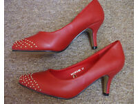 """WOMEN'S RED HEELS 2.5""""--SIZE 4/37--FRONT STUDDED-LEATHER INSOLES-NEW"""