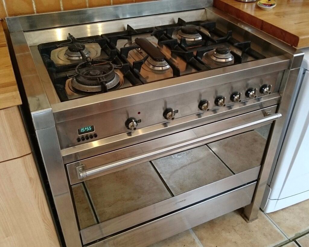 Smeg A1 Dual Fuel Range Cooker Stainless Steel Gas Hob