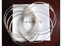 10pc Ladies Russian Wedding Bangles In Silver By Yves & Aspery [ Brand New & Hallmarked Silver 925]