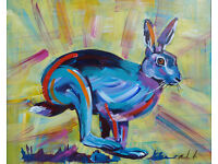 Hare marilyn allis original Acrylic painting on cancas board