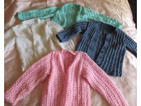 Girls' hand knitted cardigans for 2-4 years