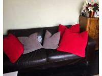 Brown Leather Sofa Settee- 6ft Long- amazing deal