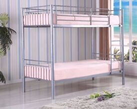 【SUPREME QUALITY】 SILVER METAL BUNK BED HIGH QUALITY SINGLE 3FT CONVERT IN TO TWO SINGLE BEDS