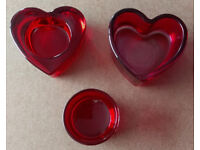 16 x Red Glass Tealight Candle Holders Wedding £12