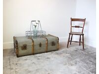 Vintage Canvas Bentwood Steamer Trunk / Coffee Table / Storage Chest
