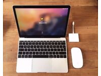 Macbook (12-inch, 256GB Silver, late 2015) + MMouse, C USB Adapter & Leather Case