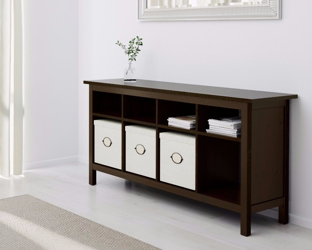ikea hemnes black brown console sofa table 3 x knipsa seagrass baskets will deliver for. Black Bedroom Furniture Sets. Home Design Ideas