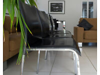 4 x black leather and chrome dining chairs by Calligaris