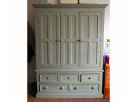 Victorian style pine wardobe armoire with drawers, vintage, painted