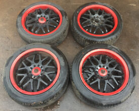 "RARE JDM RACING SPARCO NS2 16"" STAGGERED ALLOY WHEELS & TYRES 5 x 114.3 TOYOTA MR2 EVO SCOOBY GTR"