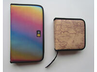 "2 x CD DVD discs case wallets, large Case Logic ""rainbow"" 50 discs + small brown 40 discs"